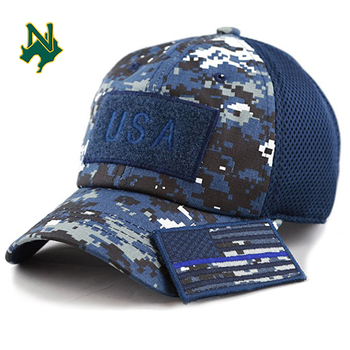 100% Cotton Military Hat Custom Embroidery Logo Blue Camo Hat USA Flag Patch Buckle Mesh Cap