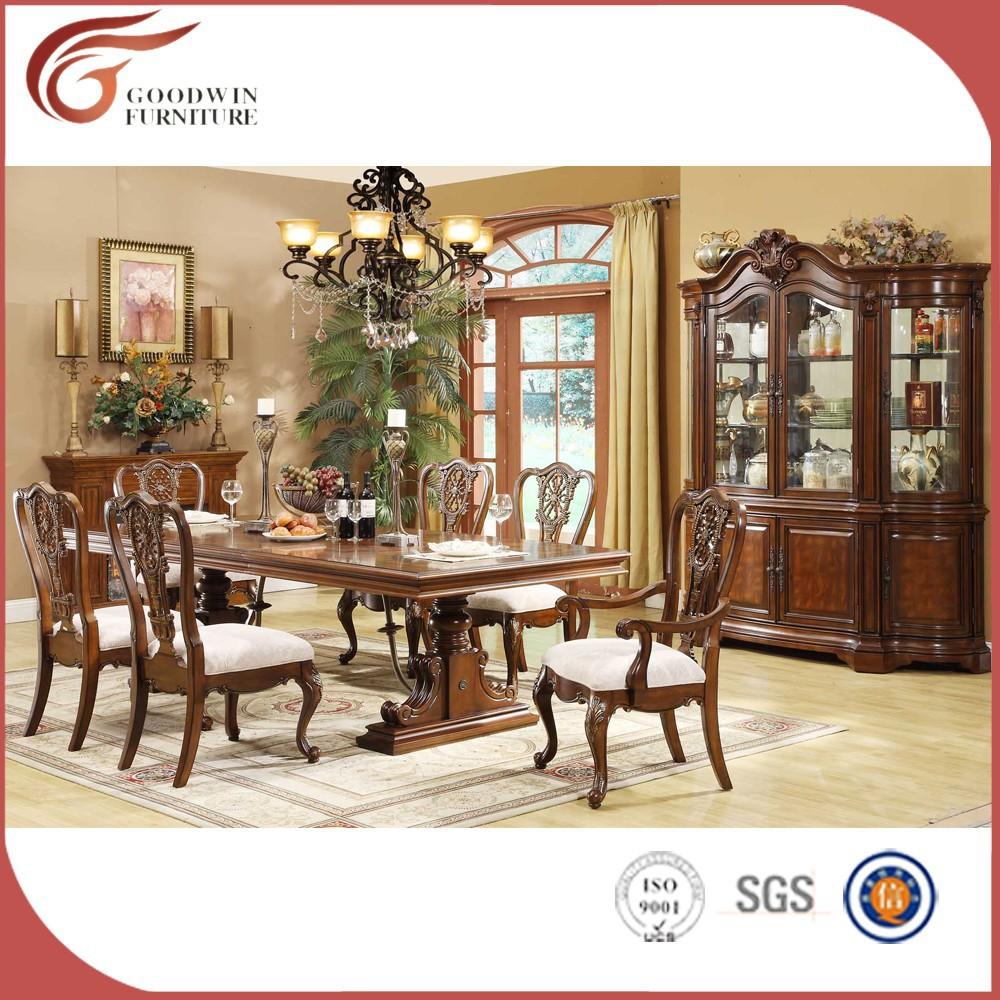 Parte superior clásico dubai mesa de comedor y sillas de madera-Sets ...