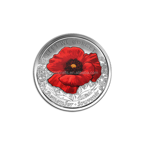 Cheap Custom Made Poppy Coins with Soft Enamel