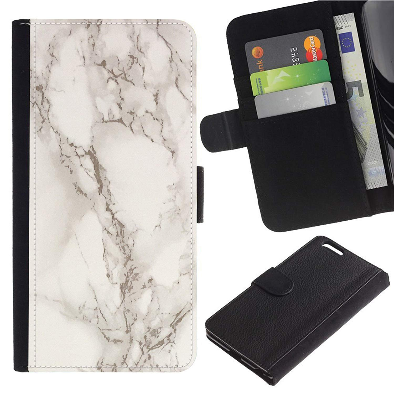[Marble Pattern] For Moto E5 Play/Moto E5 Cruise, Flip Leather Wallet Holsters Pouch Skin Case
