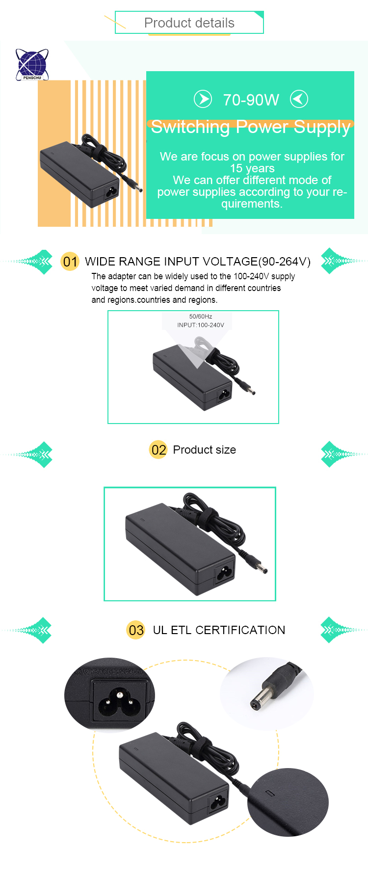 3 Pin Din 12V 6A Connector Led Power Adapter For Thermal Printer