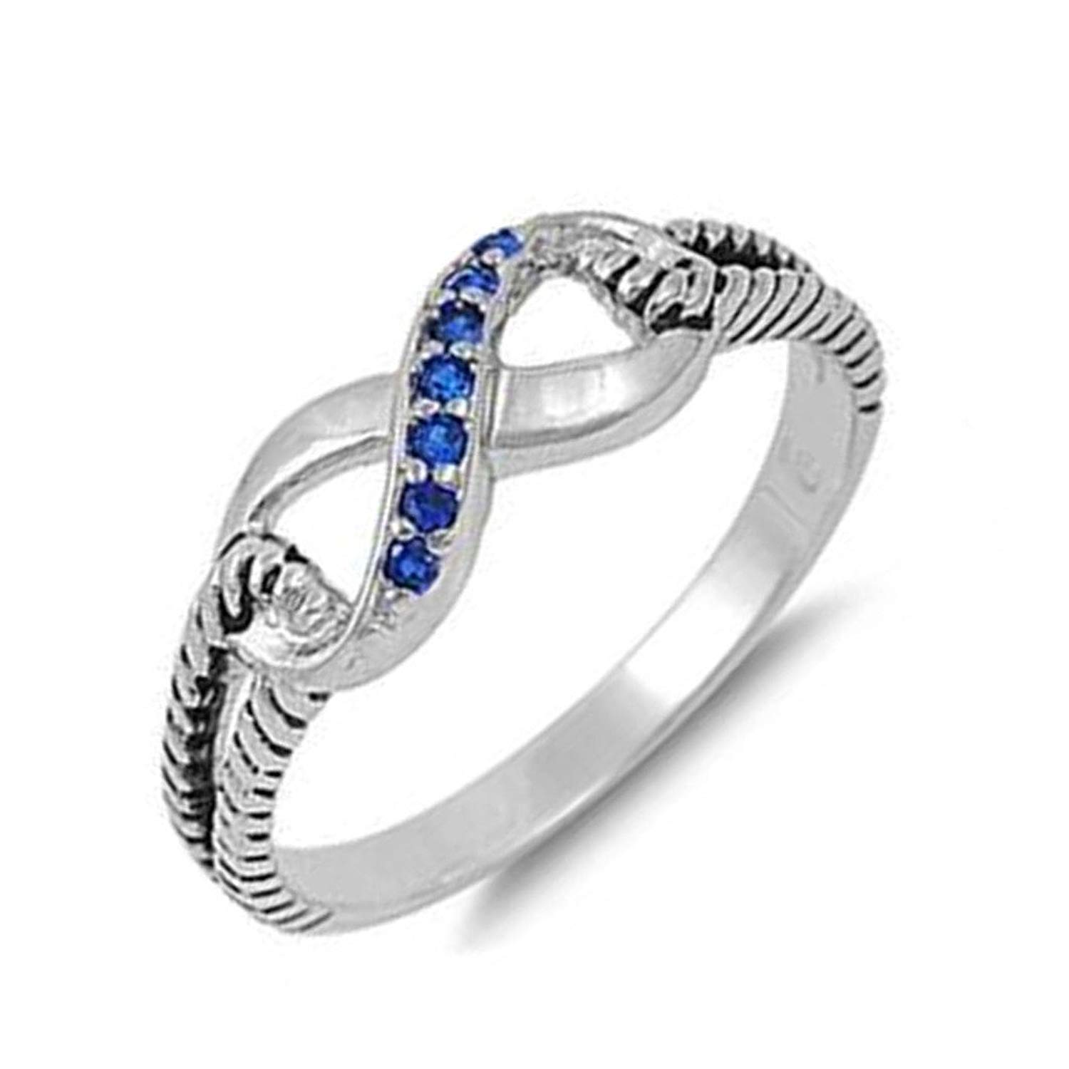 Infinity Knot Synthetic Sapphire Cubic Zirconia Rope Band .925 Sterling Silver Trendy Ring Sizes 4-11