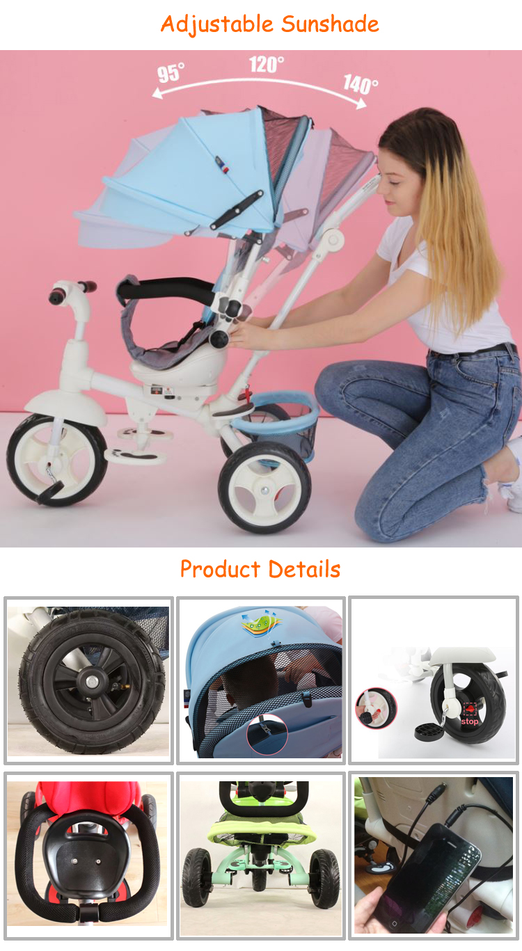 Trade assurance china manufacturer hot sale baby 5 in 1 smart trike & go
