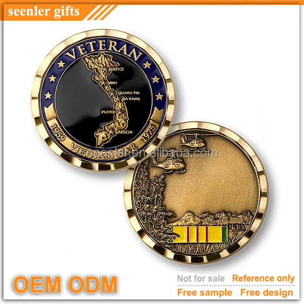 high quality antique brass plating soft enamel Vietnam Veteran coin