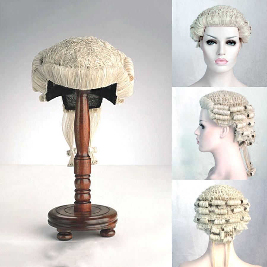 Адвокат судьи парик, Конский волос ручной работы судья правовой парик белый короткая вьющийся волос парик