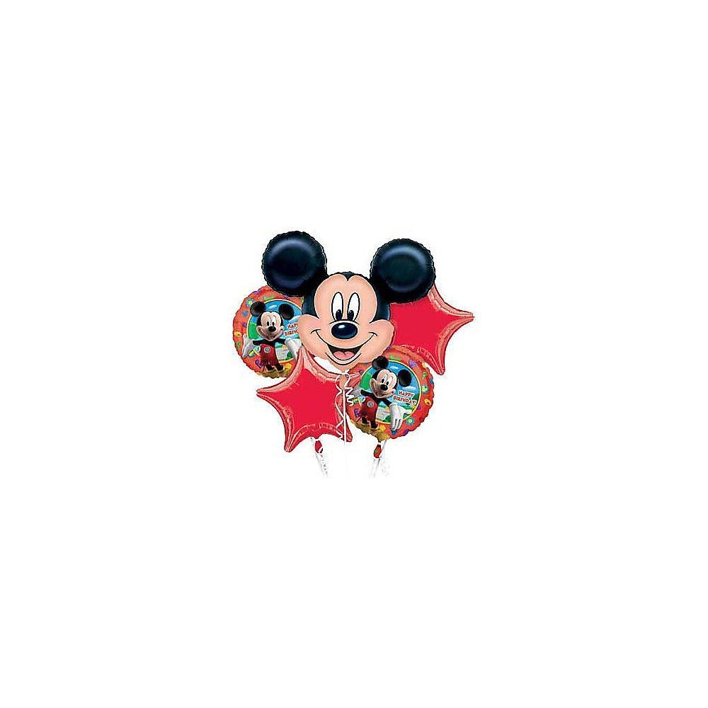 Single Source Party Supplies - 5 Balloon Mickey Mouse Birthday Balloon Bouquet Combo Mylar Foil Balloon