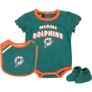 Miami Dolphins Girls Team Color Creeper, Bib, Booties 6-9 Month Baby Infant