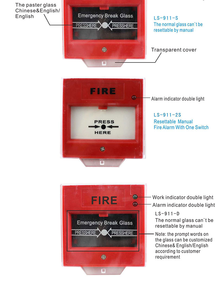LONGSIN Fire Alarm System Emergency Push Button Switchs Emergency stopping push-button emergency button