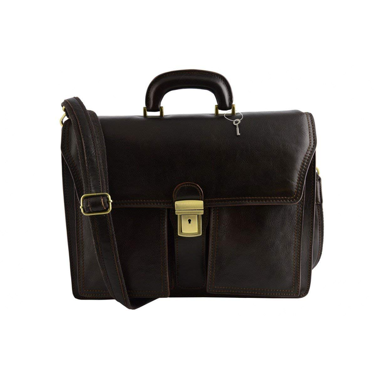 Dream Leather Bags Made in Italy Genuine Leather Genuine Leather Business Bag Color Dark Brown