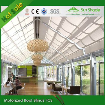 Remote Control Indoor Skylight Blinds Green House Roof Sun Shade For Balcony