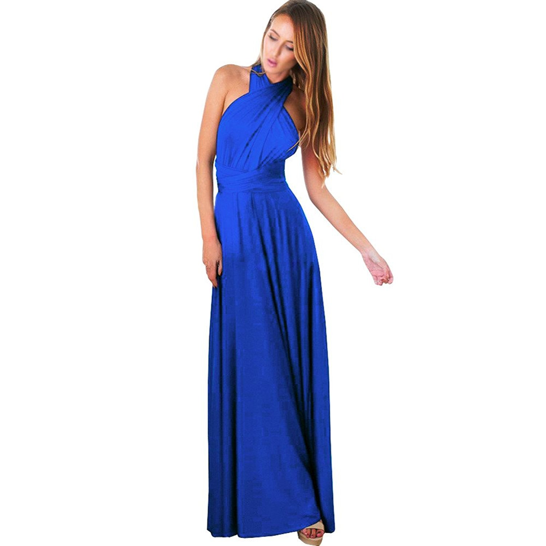 c0f33b38cb6 Get Quotations · CieKen Women s Wrap Bridesmaid Dress Convertible Multi Way  Maxi Dress Long Infinity Gown