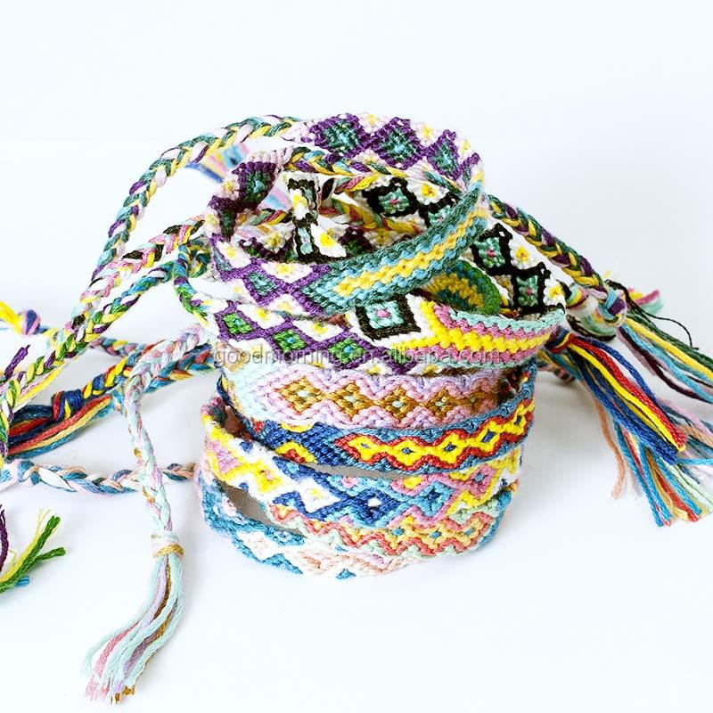 20Pcs Mixed Folk Style Colorful Rope Hand Woven Girls Kids Bracelets Wristband