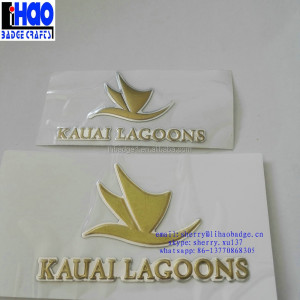 PVC 3D Chrome logo label, Matt gold metallic 3D Swan shaped badge plate