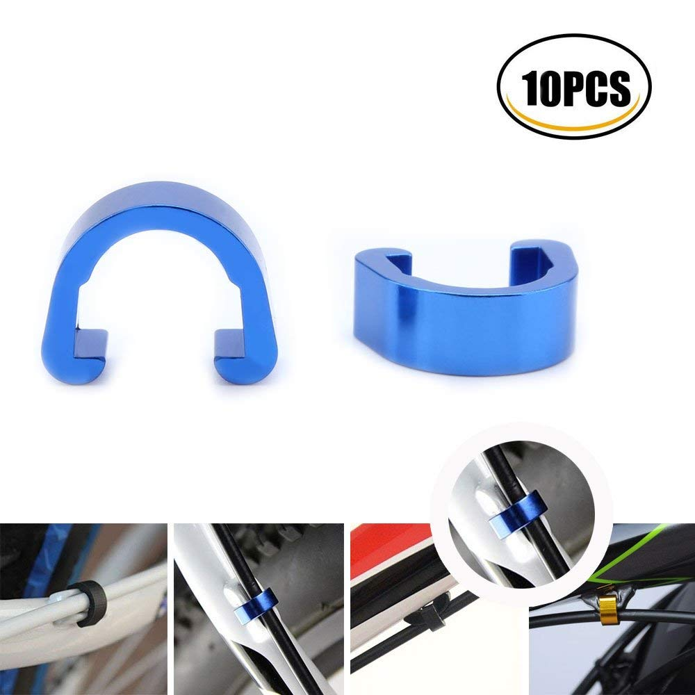 YESON 10pcs Various Color Aluminum bicycle c clips Brake Shifter housing Bike cable clips Frame U Buckle Hose Guides Fixed Tubing Clasps derailleur Line Clamps for MTB Road Mountain bike Guide