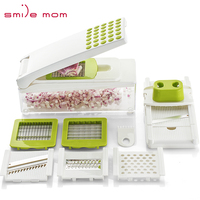 Smile mom Multifunctional Plastic Fruit & Vegetable Tools Mini Shredder - Julienne Slicer - Cassava Grater - Manual Food Dicer