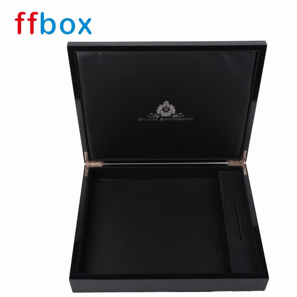 6 '' 12 '' caixa de álbum de fotos de casamento de madeira de brilho 12x12 preto