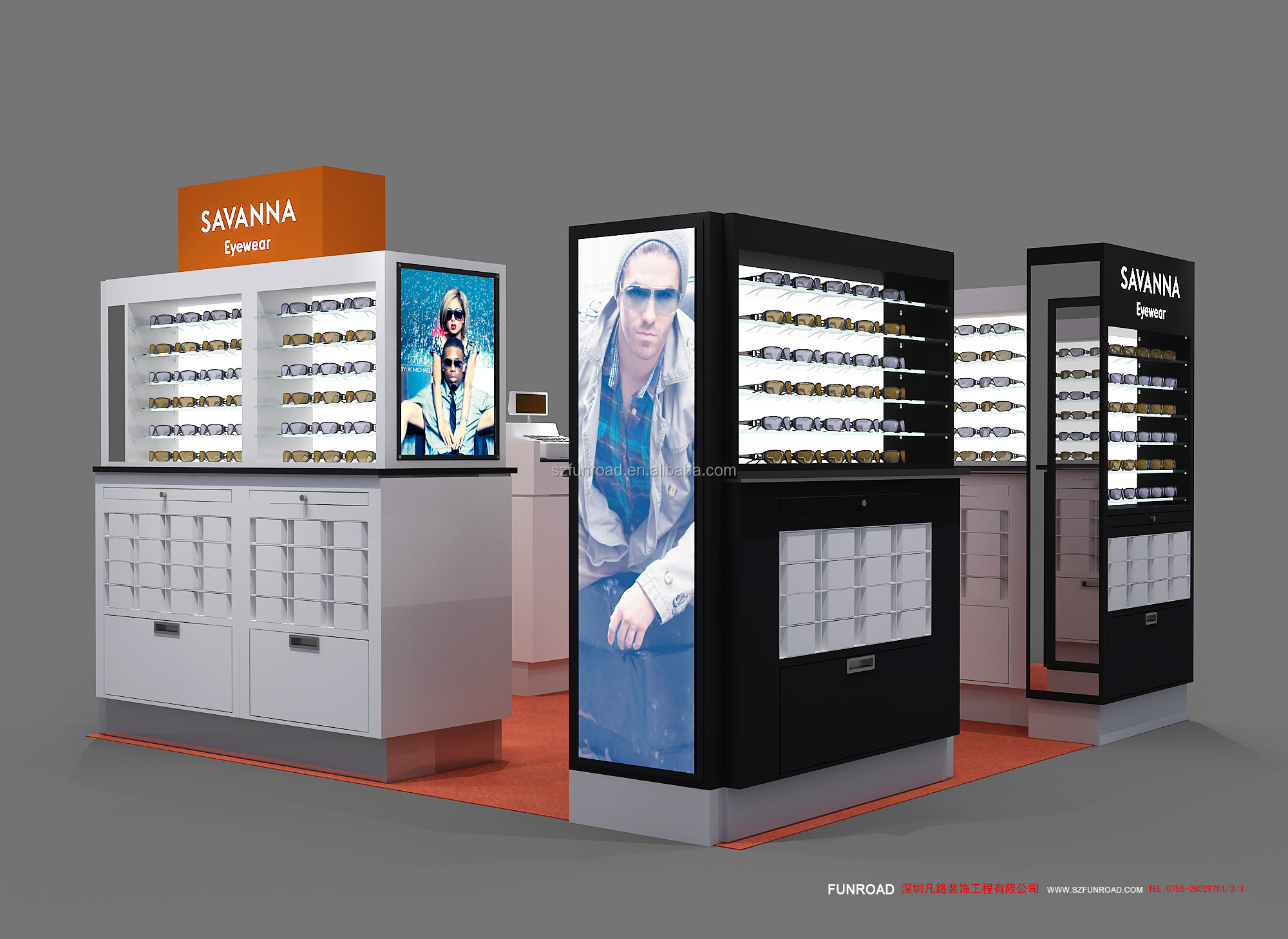 Funroad design and manufacturing 10*13ft glasses display kiosk in shopping mall for sale