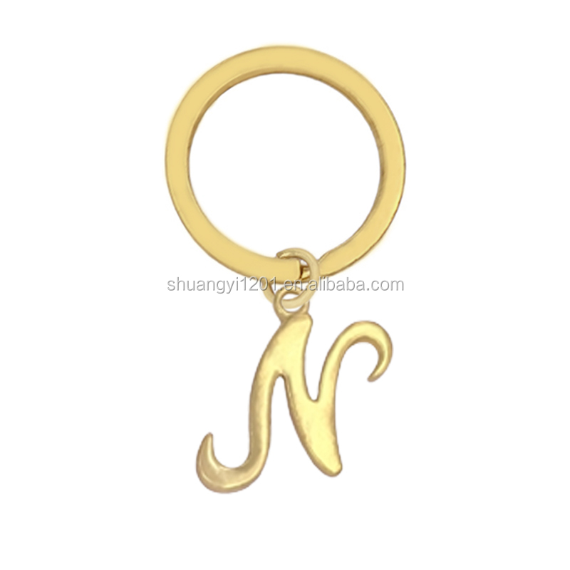 Gold Letter Key Chain Metal Alphabet Initial Letters N Keychains & Key Finder
