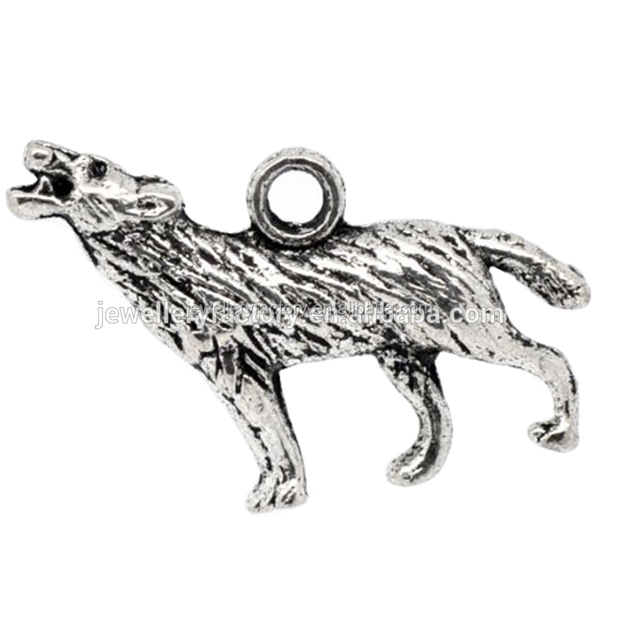 Antique Silver Wolf Wolves Charms Pendant