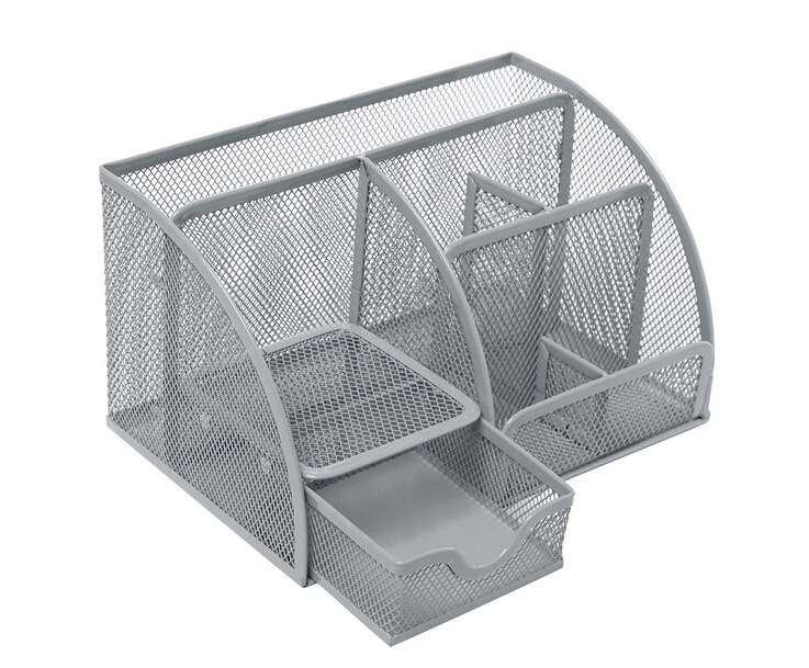 Multipurpose Metal Mesh Desk Organizer for Office, Black or silvery