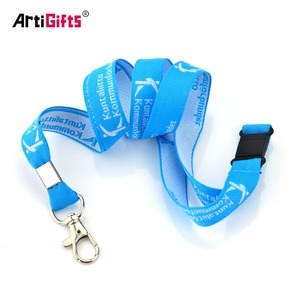 Wholesale Designer Polyester Custom Blue Woven Lanyard Ribbon Strap for Medal