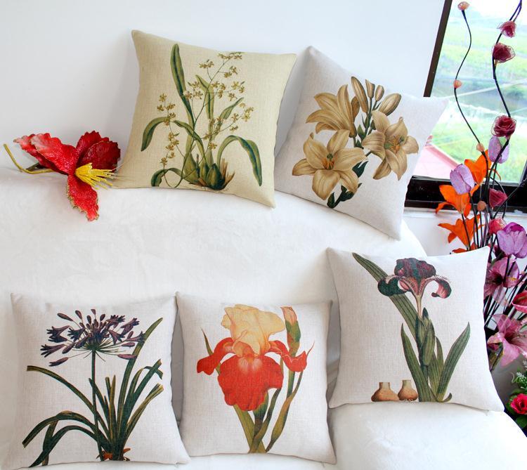Free Shipping Retro America Flowers Linen Fabric Office Sofa Pillow Hot Sale New Home Fashion Christmas Decor 45cm Car Cushion
