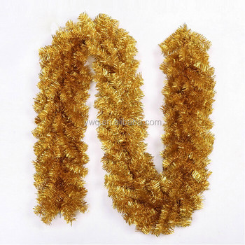 9ft long shiny gold tinsel plastic christmas garland