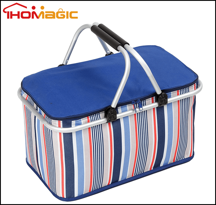Outdoor aluminum foil cheap promotional folding frozen food packing inner cool lunch bag thermal cooler bag with stand