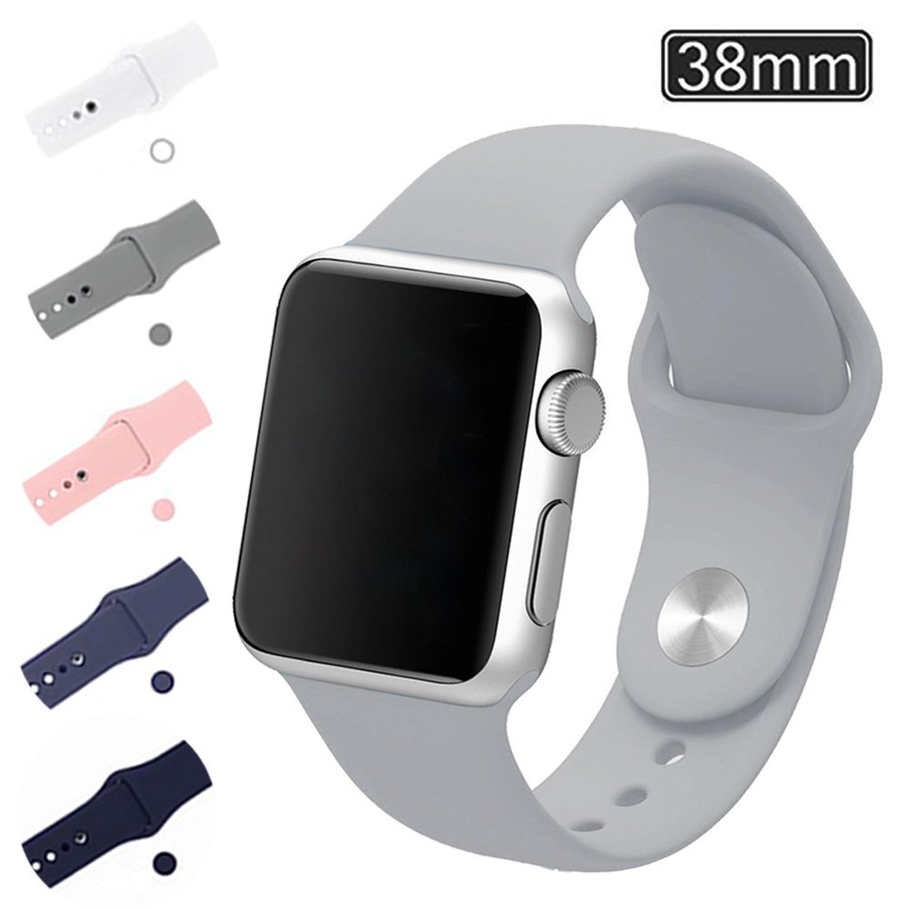 Apple Watch Band 38mm, Soft Silicone Replacement Wrist Strap for iWatch Series 2, Series 1, Nike+ Fits Wrist 160mm (Gray)