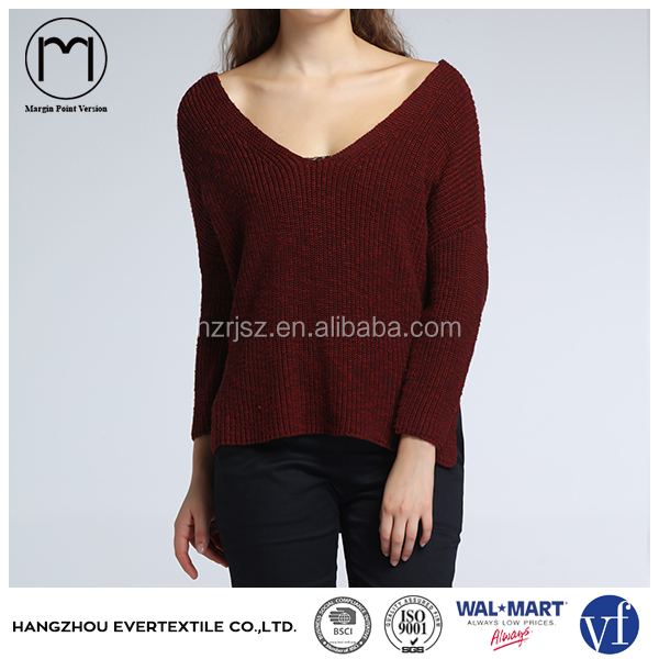 Custom Apparel V neck Red Wine Color Women Sweater Pullover Modern Casual Ladies Loose Knitted Clothing