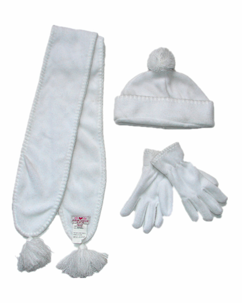 NEWEST white knitted hats and scarfs gloves Winter Sets for children