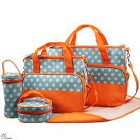 5 Pieces Large Capacity Waterproof Polka Dot Print Mummy Diaper Bag Totes