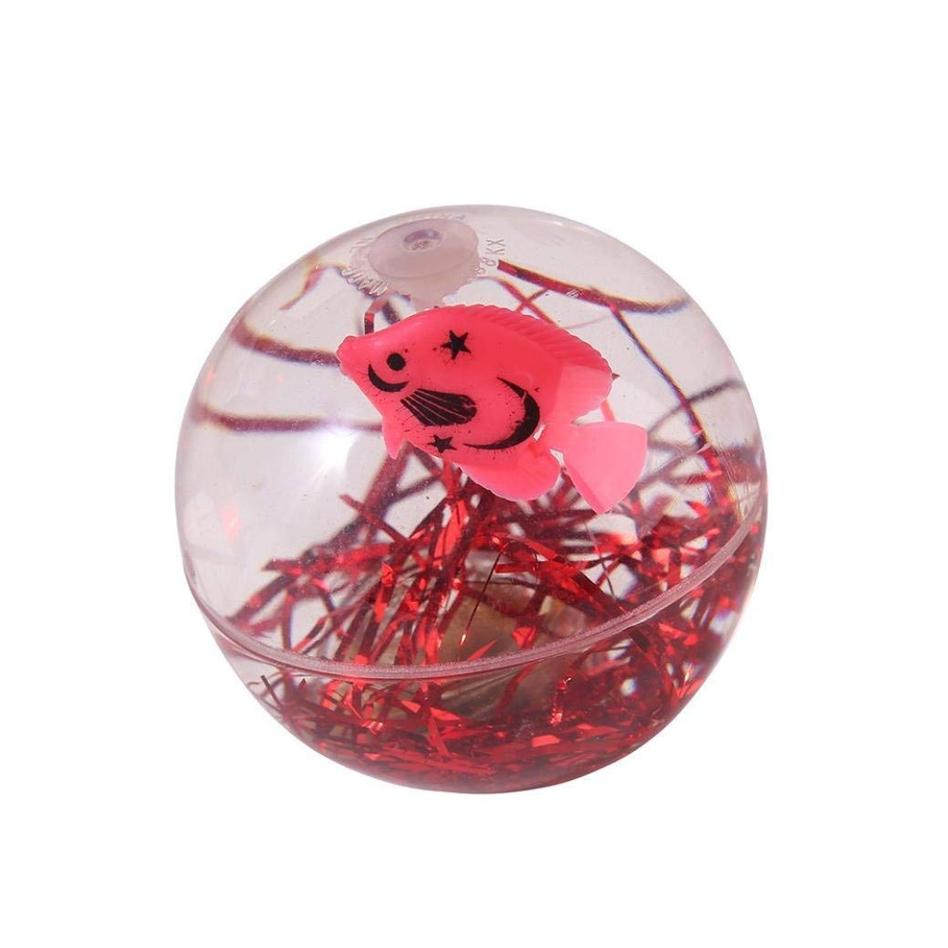 Gbell Glow in Dark LED Ball Clear Fish Ball Gift with Battery for Kids Adults,7.5CM,Assorted Red,Blue,Gold,Silver (Red)