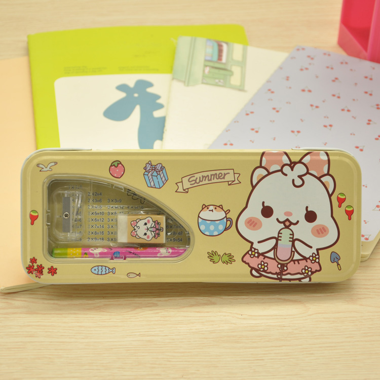 Popular China multifunction multiplication table metal tin double layered pencil box