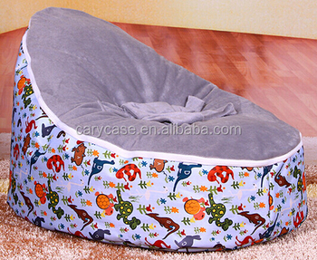 Grey Cartoon Dinosaur Style Baby Bean Bag Chair, 2 Upper Covers Beanbag  Sofa Seat