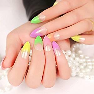 24pcs Acrylic Nails Glitter French Purple Yellow Green Rainbow Tip Top False Nail Z121