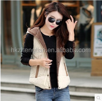 Wholesale ladies fashion hooded cotton vest cotton vest stitching plus velvet jacket