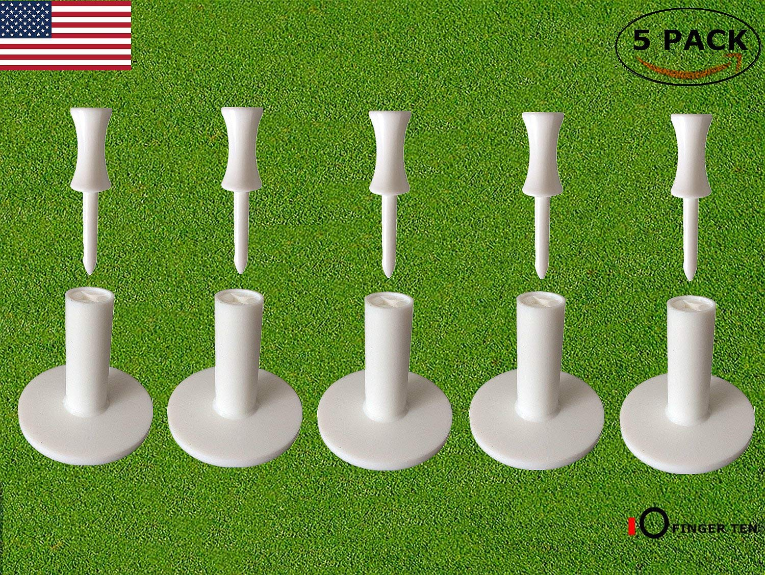 Golf Rubber Tee Driving Range Value 5 Pack for Indoor Outdoor Practice Mat, Tee Adaptor Size 1.5'' 2.0'' with Free 6pcs Castle Tees