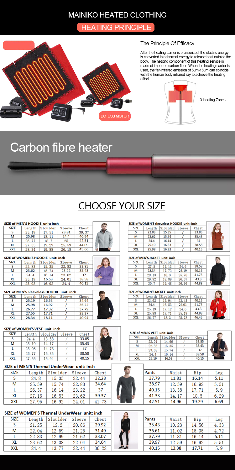 100 Cotton Winter Usb Electric Battery Operated Breathable Heating Long Johns