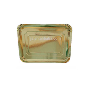Rectangle gold colour bright gold paper plates