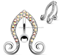 14G Paved Aurora Gems Top Down Vines Navel Ring