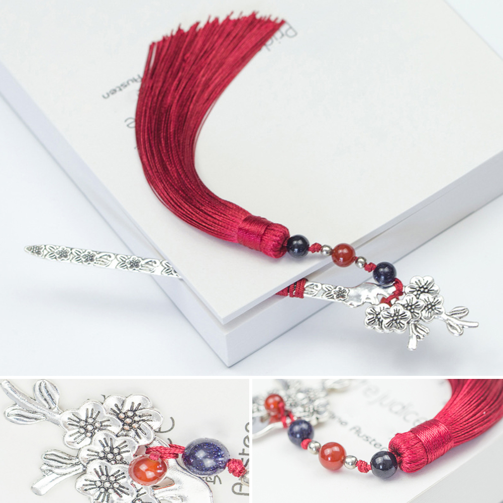Weave Retro Traditional Hair Clasp Shape Long Chinese Style Novelty Bookmark Handmade Beads Tassels Gifts Metal Vintage Labels, Indexes & Stamps Office & School Supplies