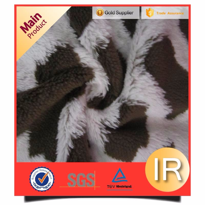 dark brown and white emboridered jacquard sherpa fleece fabric
