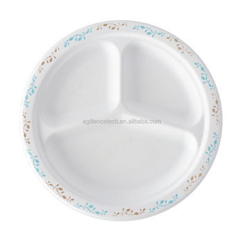 disposable food plates with 3 compartment eco friendly paper plates