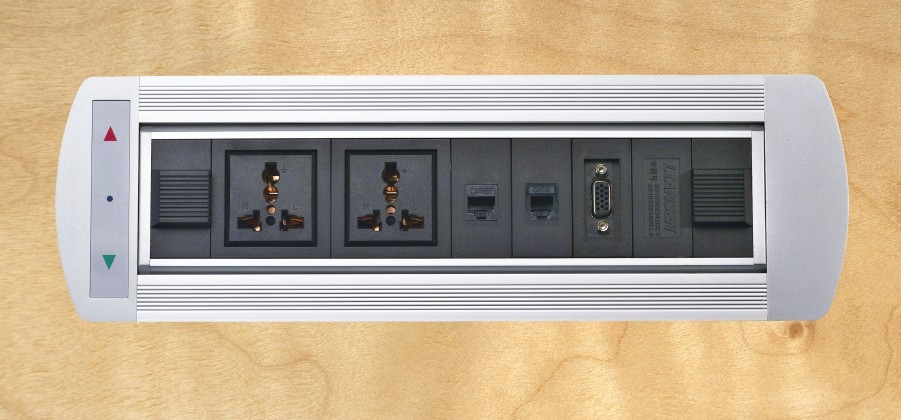 Conference table recessed mounting Black electric rotatry power socket outlet