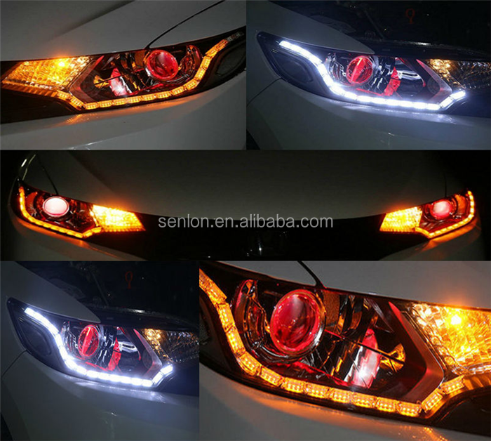 Hot Selling Auto Flexible Strip Tear Eyes Flowing Drl Lamp Turn Indicator Light Switchback White Amber Led Daytime Running Light Car Lights Automobiles & Motorcycles