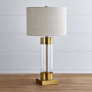 Fabric Shade Metal Wrought Iron Brushed Nickel Acrylic Column Nickel Modern Bedside Table Lamp With USB