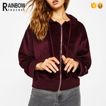 Custom Wine Red Velvet Zip Up Hoodie For Women 2017 - Buy Velvet Hoodies bff8eaf42f