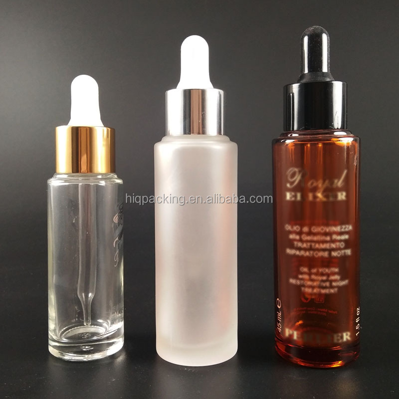 empty 30 ml 50ml clear brown black round glass cosmetic serum bottle with dropper