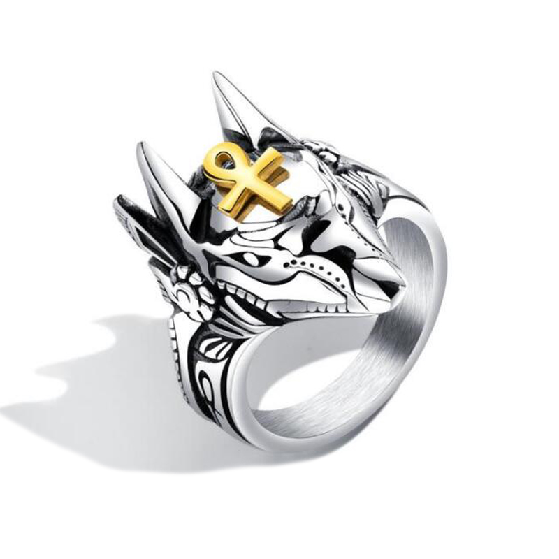 Wholesale Mens Punk Style Stainless Steel Pirate Part Plated Gold Skull <strong>Ring</strong>